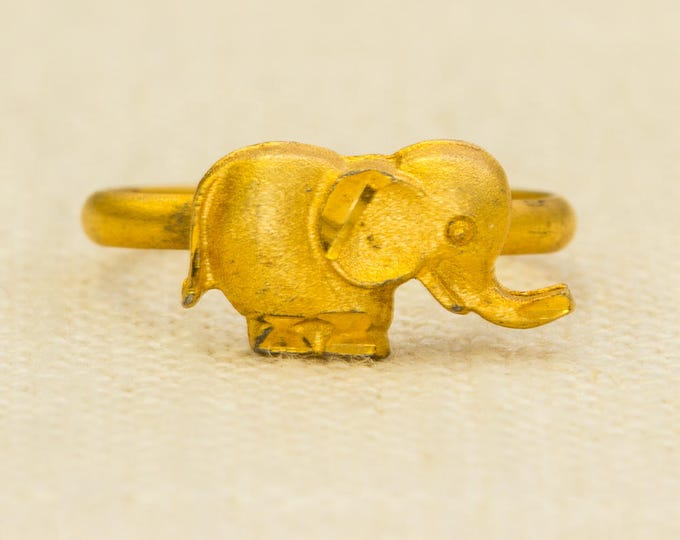 Elephant Vintage Ring Brushed Gold Metal Etched Pinkie Adjustable Size African Animal 7RI
