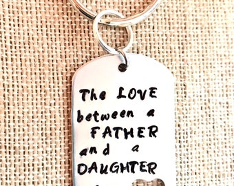 Father's Key Chain, Personalized Large Custom Key Chain, Dad And Daughter Hand-stamped key chain