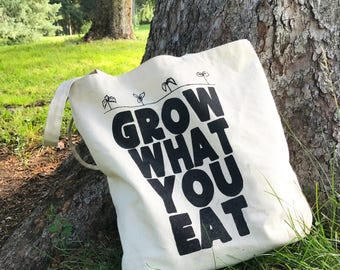 Grow What You Eat Canvas Farmer's Market Tote - Hand Screen Printed