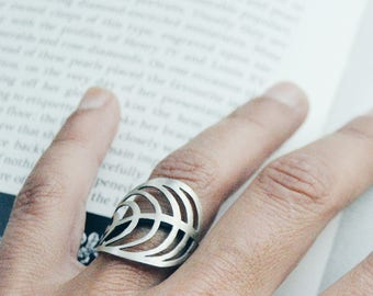 Leaf ring Sterling silver ring Wrap ring Boho jewelry Nature jewelry Flower ring Nature lover gift Nature ring Wire wrapped ring Gypsy ring