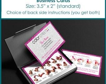 Color Street Business Cards Personalized Digital Download Pink Sparkles Border design