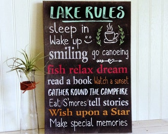 Lake Rules Canvas Sign - Gallery Wrap Canvas Print Lake Rules - Canvas Lake Rules Sign - Cabin Decor - Lake Decor - Canvas Print Lake Rules