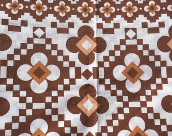 Vintage 70s Brown Geometric Double Duvet Cover
