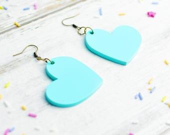 Pastel Earrings | Large Dangly Heart Earrings | Mint Green Jewellery | Laser Cut Jewellery | Nickel Free Candy Coloured Earrings