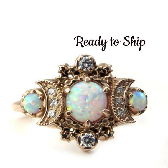 Ready to Ship Size 6-8 Lab Opal Cosmos Moon Engagement Ring - Rose Gold Celestial 3 Stone Diamond Ring