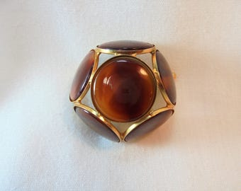 Vintage  Modernist Brooch / Pin Dome Shape Amber Color Lucite Mod Retro Minimalist Art Deco
