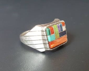 Navajo Sterling Inlay Mens Rings Signed Ray Jack Soiny Oyster, Lapis, Turquoise, Coral Sugalite Size 12