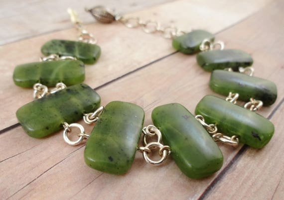Green Serpentine Stone Links Bracelet - Stairway to Heaven Published Bracelet