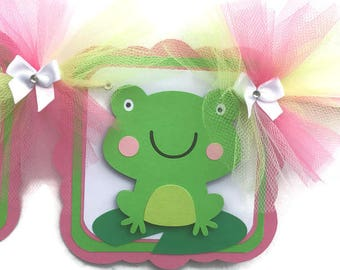 Frog name banner, frog baby shower, frog birthday, birthday banner, custom banner, baby shower sign, frog sign, pink and green, table prop