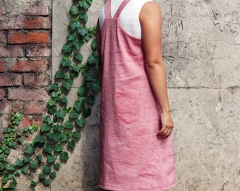 Women's linen overall dress, linen overall. Pinafore dress, apron dress. Japanese pinafore dress. Sustainable clothing, made in Italy