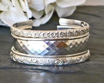 Bracelets for Women - Sterling Silver Cuff Bracelets for Women - Stacking Bracelets - Bracelet Set - Wide Cuff Bracelet Silver - Womens Gift