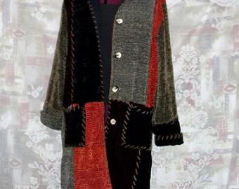 Colorblock Velvet Chenille Long Jacket. #KheGreen