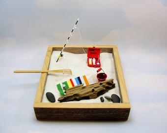 miniature zen beach garden kit beach blanket fishing bucket