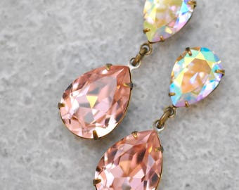 Blush Pink Rainbow Bridesmaid Earrings Bridal Jewelry Bride Wedding Swarovski Crystal Vintage Rose Aurora Borealis Duchess Hourglass Clip On