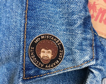 Bob Ross Pin, Soft Enamel Pin, Jewelry, Art, Gift, Stocking Stuffer, Painter (PIN132)
