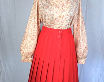 70s retro orange and red paisley cotton blouse with bishop sleeves size XL