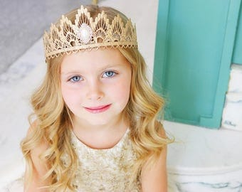 NEW rose gold Sienna princess lace TIARA with pearl embellishment || bridal headpiece || Ready to Ship