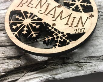 Benjamin - Customizable Baby's First Christmas Ornament - Engraved Birch Wood Ornament