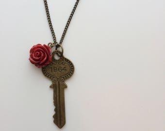 Brass 1964 Key & Rose Necklace