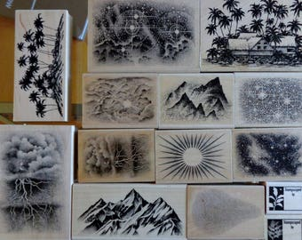 STAMPSCAPES | Rubber Stamps Lot | Wood Mounted Rubber Stamps | Collage | Scrapbooking | Card Making | Scenery | Sky | Mountains | Palm Tree