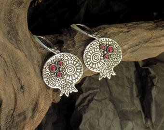 Pomegranate Earrings - Slver Garnet Earrings - Silver Pomegranate - Silver Garnet Earrings
