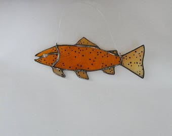 Brown Trout Stained Glass Suncatcher, Fly Fishing River Fish, Camping, Glass Fish, Handmade Colorado Brown Trout, Window Home Decor, Gift