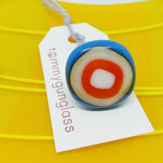 Red and Blue Bullseye Glass Adjustable Ring