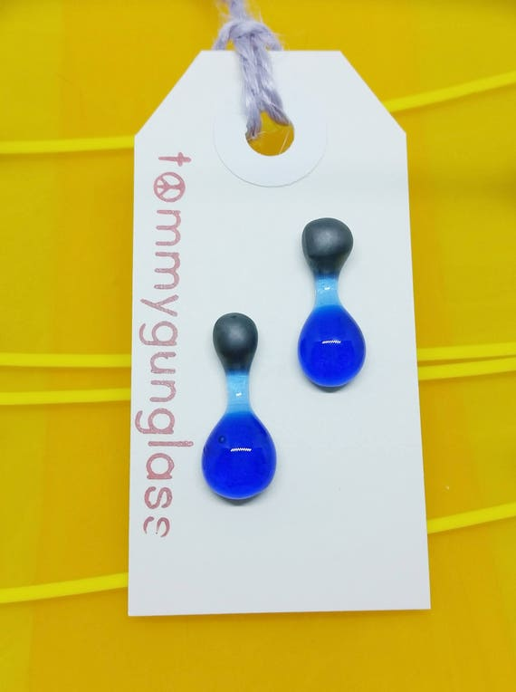 Blue and Silver Glass Drop Earrings