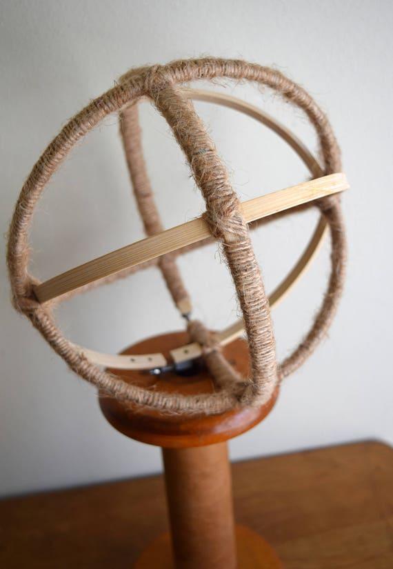 Unique Vintage Wooden Hoop Embroidery Frame / Globe / Circle - Modern, Farmhouse, Natural Decor