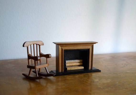 Vintage Wood Dollhouse Fireplace & Rocking Chair - Miniatures, Faery House, Dollhouse Furniture