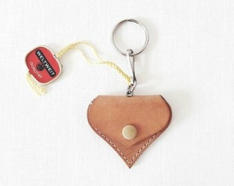 Vintage Leather Heart Keychain