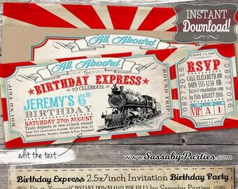 Birthday Express Invitation - INSTANT DOWNLOAD -  Editable & Printable Train, Locomotive, Choo Choo, Railway, Boys Birthday Party Invitation