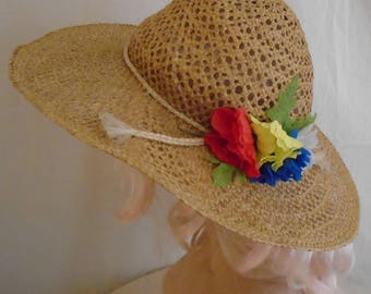 Vintage 1970s Wide Brim Straw Hat Open Weave Flower Trim