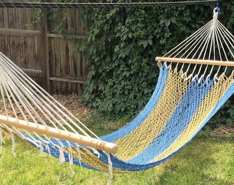 NEW! Single Hammock with Spreader Bars - White, Blue & Green
