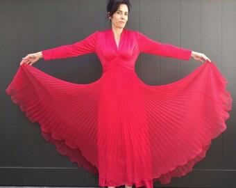 Vtg 70s Miss Elliette red Accordian pleat grecian maxi Dress gown Sz 6