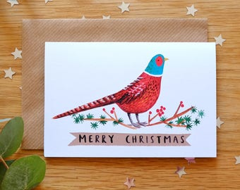Pheasant Illustrated Christmas Cards available in two sizes small or large