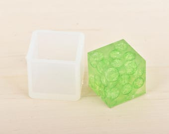 "1 RESIN CUBE Mold, Silicone Mold to make cube 35mm square (1-3/8""), bath bomb mold, soap mold, clay mold, reusable, tol0776"