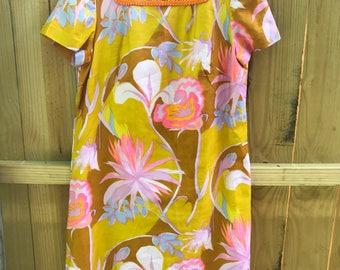 Vintage 60s Abstract Shift Dress / Vintage Mod Shift Dress / Funky Print Barkcloth Dress