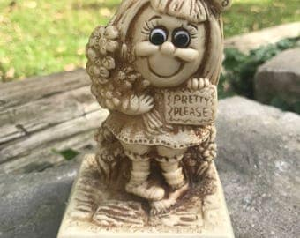 Adorable Get Well Soon Resin Figurine by Russ and Berrie Circa 1975 / Get Well Soon Statue R&W Berrie