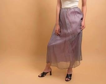 1990s Minimalist Silk Skirt / Tulle Skirt / Vintage 90s Skirt / 90s Overlay Skirt Δ fits sizes: XS/S/M