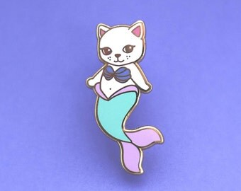 Mermaid Cat Enamel Pin - Hard  Enamel Pin Cloisonné Mercat Lapel Pin Purrmaid Pin Badge Kitty Kawaii Pin Mermaid Brooch Cat Pin