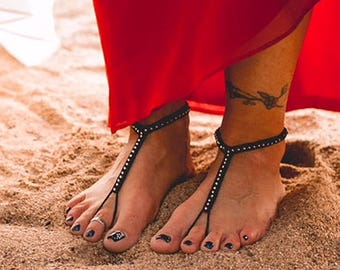 Black Barefoot Sandals- Foot Jewelry- Beach Wedding Sandals- Footless Sandals- Barefoot Wedding Sandals- Bridesmaid Gift- Boho Beaded Sandal