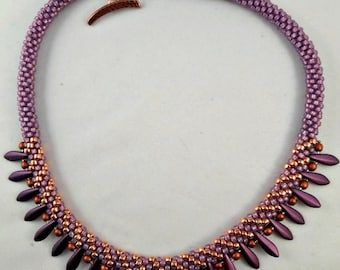 COPPER and PURPLE BEADED Kumihimo Necklace with Purple Dagger Beads