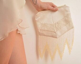 Off white gold bridal clutch bag pearls fringe