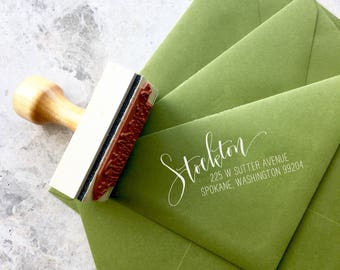 Return Address Stamp Personalized Calligraphy - Modern Calligraphy Address Stamps - Rebel Stout Style off center - Self ink or Wood