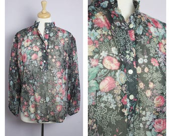 Vintage 1970's Semi Sheer Black Floral Mandarin Collar Blouse M/L