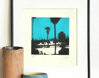 Original Aquatint Printmaking SANTA BARBARA HARBOR California Beach Landscape Engraving Print Wall Decor Fine Art Print 10x10