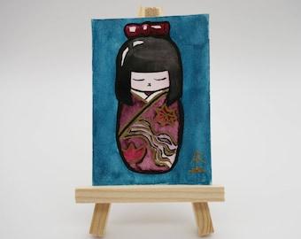 Kokeshi - tiny original painting, Japanese doll, watercolor painting, mini painting, kawaii painting, traditional Japan, ACEO, ATC, OOAK
