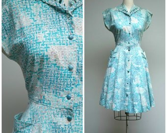 Vintage 1950s Dress • Spring Mornings • Turquoise Brown Printed Cotton 50s Day Dress Size Medium
