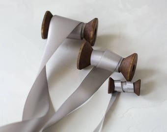"""Silver Gray Double-Sided Satin Ribbon (with Wooden Spool) - 3/8"""" (15 yards) / 7/8"""" (10 yards) / 1.5"""" (5 yards)"""
